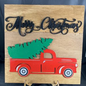 Merry Christmas Red Truck Cutout