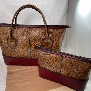 Handmade Burgundy Leather Tote